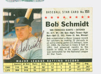 Bob Schmidt AUTOGRAPH 1961 Post #151 Giants BOX CARD IS POOR, CREASES, GLUE RESIDUE ON REVERSE