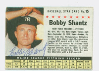 Bobby Shantz AUTOGRAPH 1961 Post #15 Yankees BOX CARD IS G/VG; SURF WEAR, AUTO CLEAN