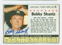 Bobby Shantz AUTOGRAPH 1961 Post #15 Yankees BOX CARD IS F/P; HEAVY CREASING, AUTO CLEAN