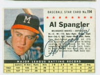 Al Spangler AUTOGRAPH 1961 Post #114 Braves BOX CARD IS CLEAN G/VG, EDGE IS OVER CLIPPED