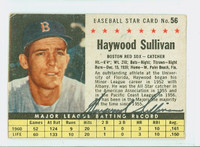 Haywood Sullivan AUTOGRAPH d.03 1961 Post #56 Red Sox BOX CARD IS POOR; HEAVY CREASING, MARK ON REVERSE