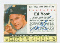Ed Yost AUTOGRAPH d.12 1961 Post #45 Tigers BOX CARD IS CLEAN F/G, EDGE IS OVER CLIPPED