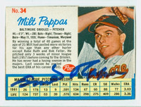 Milt Pappas AUTOGRAPH 1962 Post #34 Orioles CARD IS CLEAN VG, EDGE IS OVER CLIPPED