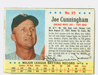 Joe Cunningham AUTOGRAPH 1963 Post #35 White Sox CARD IS F/G; CREASES, MISCUT