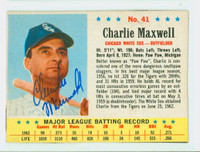 Charlie Maxwell AUTOGRAPH 1963 Post #41 White Sox CARD IS F/P; FRONT EX, BACK HAS SEVERE PAPER LOSS