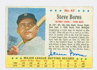 Steve Boros AUTOGRAPH d.10 1963 Post #47 White Sox CARD IS CLEAN EX