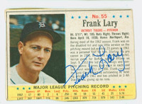 Frank Lary AUTOGRAPH 1963 Post #55 Tigers CARD IS F/G; CREASES, MISCUT, EDGE OVERCUT