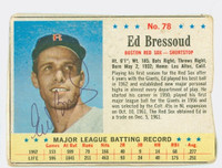 Ed Bressoud AUTOGRAPH 1963 Post #78 Red Sox CARD IS F/G; HEAVY CRN WEAR, WRT ON REVERSE