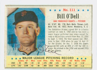 Billy O' Dell AUTOGRAPH 1963 Post #111 Giants CARD IS G/VG; SURF WEAR