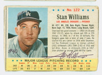 Stan Williams AUTOGRAPH 1963 Post #122 Dodgers CARD IS F/G; SEVERE MISCUT