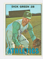 Dick Green AUTOGRAPH 1967 Topps #54 Athletics CARD IS VG; AUTO CLEAN, CRN WEAR