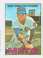 Jack Hamilton AUTOGRAPH 1967 Topps #2 Mets CARD IS G/VG; AUTO CLEAN