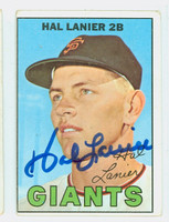 Hal Lanier AUTOGRAPH 1967 Topps #4 Giants CARD IS VG; OC