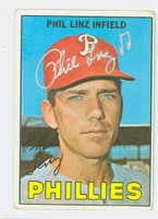 Phil Linz AUTOGRAPH 1967 Topps #14 Phillies CARD IS F/G; CREASE, AUTO CLEAN