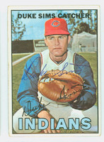 Duke Sims AUTOGRAPH 1967 Topps #3 Indians CARD IS POOR; AUTO CLEAN, BACK DAMAGE  [SKU:SimsD1288_T67BBC]