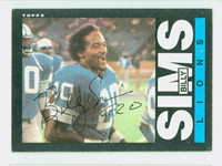 Billy Sims AUTOGRAPH 1985 Topps Football Lions CARD IS G/VG