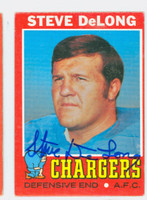 Steve DeLong AUTOGRAPH d.10 1971 Topps Football #92 Chargers CARD IS VG/EX