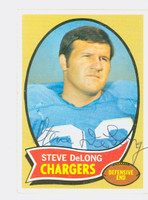 Steve DeLong AUTOGRAPH d.10 1970 Topps Football #49 Chargers CARD IS CLEAN VG/EX