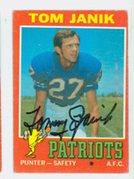 Tom Janik AUTOGRAPH d.09 1971 Topps Football #82 Patriots CARD IS G/VG: CRN WEAR, EDGE WEAR