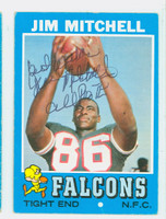 Jim Mitchell AUTOGRAPH d.07 1971 Topps Football #84 Falcons CARD IS G/VG: CRN WEAR, LT CREASE