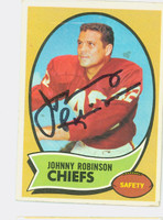 Johnny Robinson AUTOGRAPH 1970 Topps Football #129 Chiefs CARD IS G/VG: CRN WEAR, DING