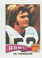 Jim Youngblood AUTOGRAPH 1975 Topps Football #176 Rams CARD IS G/VG: CRN WEAR  [SKU:YounJ52249_T75FB]