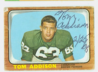 Tommy Addison AUTOGRAPH d.11 1966 Topps Football #1 Patriots CARD IS F/P; SURF WEAR, CREASES, PAPER LOSS ON REV