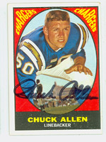 Chuck Allen AUTOGRAPH d.16 1967 Topps WIN A CARD Football #129 Chargers CARD IS CLEAN EX