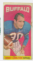 Wray Carlton AUTOGRAPH 1965 Topps Football Bills #26 Single Print CARD IS POOR; SURF WEAR, STAINING