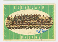 Bob Gain AUTOGRAPH  d.16 1961 Topps Football #76 Browns Team CARD IS G/VG: SURF WEAR