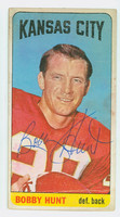 Bobby Hunt AUTOGRAPH 1965 Topps Football #104 Chiefs Single Print CARD IS POOR; SURF WEAR, STAINING  [SKU:HuntB50802_T65FB]