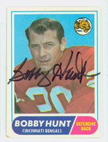 Bobby Hunt AUTOGRAPH 1968 Topps Football #122 Bengals CARD IS VG; AUTO CLEAN  [SKU:HuntB50802_T68FB]