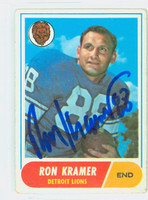 Ron Kramer AUTOGRAPH d.10 1968 Topps Football #51 Lions CARD IS F/G; LT CREASES, AUTO CLEAN