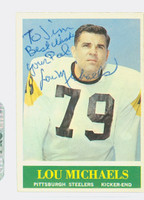 Lou Michaels AUTOGRAPH d.16 1964 Philadelphia #147 Steelers CARD IS CLEAN EX; PERS
