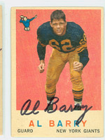 Al Barry AUTOGRAPH 1959 Topps Football #138 Giants CARD IS G/VG: CRN WEAR