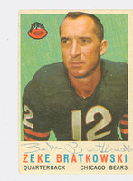Zeke Bratkowski AUTOGRAPH 1959 Topps Football #90 Bears CARD IS G/VG: CRN WEAR