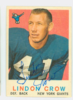 Lindon Crow AUTOGRAPH 1959 Topps Football #156 Giants CARD IS VG; AUTO CLEAN