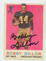 Bobby Dillon AUTOGRAPH 1959 Topps Football #12 Packers CARD IS G/VG: CRN WEAR  [SKU:DillB50428_T59FB]