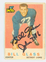 Bill Glass AUTOGRAPH 1959 Topps Football #122 Lions CARD IS POOR