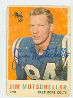 Jim Mutscheller AUTOGRAPH d.15 1959 Topps Football #89 Colts CARD IS POOR, BACK DAMAGE