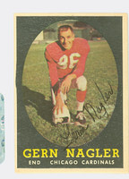 Gern Nagler AUTOGRAPH 1958 Topps Football #60 Cardinals CARD IS G/VG: SL BEND