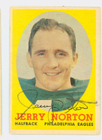 Jerry Norton AUTOGRAPH 1958 Topps Football #40 Eagles CARD IS G/VG: CRN WEAR  [SKU:NortJ51261_T58FB]