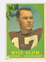 Milt Plum AUTOGRAPH 1958 Topps Football #5 Browns CARD IS POOR; CREASES, SURF DAMAGE