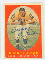Duane Putnam AUTOGRAPH 1958 Topps Football #55 Rams CARD IS F/G; HEAVY CRN WEAR, LT CREASES