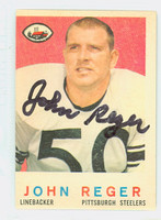 John Reger AUTOGRAPH d.13 1959 Topps Football #124 Steelers CARD IS VG; OC