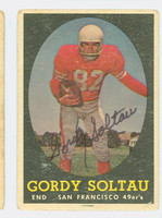 Gordon Soltau AUTOGRAPH d.14 1958 Topps Football #130 49ers CARD IS G/VG: HEAVY CRN WEAR