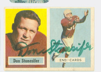 Don Stonesifer AUTOGRAPH 1957 Topps Football Cardinals CARD IS CLEAN EX