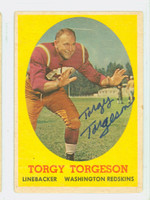 Torgy Torgeson AUTOGRAPH d.15 1958 Topps Football #97 Redskins CARD IS F/P; CREASING