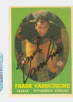 Frank Varrichione AUTOGRAPH 1958 Topps Football #77 Steelers CARD IS F/G; LT CREASES, AUTO CLEAN  [SKU:VarrF51792_T58FB]