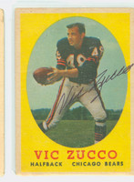 Vic Zucco AUTOGRAPH 1958 Topps Football #36 Bears CARD IS F/P; CREASING